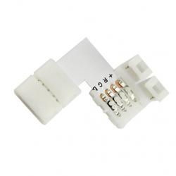 Złączka kątowa 2x click 4 PIN 10mm do taśm LED wielokolorowych