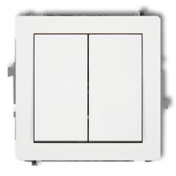 KARLIK DECO Przycisk łącznik zwierny podwójny do ramki biały DWP-44.1