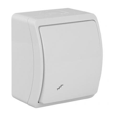 Łącznik pojedynczy schodowy natynkowy wodoodporny IP44 biały