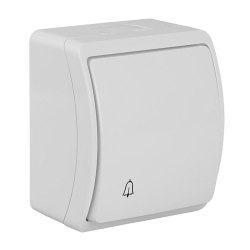 """KOALA Łącznik przycisk zwierny """"dzwonek"""" natynkowy wodoodporny IP44 biały 155-01"""
