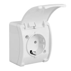KOALA Gniazdo pojedyncze SCHUKO natynkowe wodoodporne IP44 białe 181-01