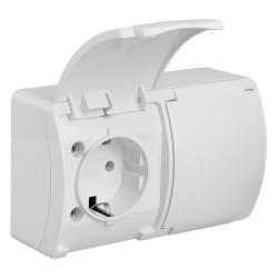 KOALA Gniazdo podwójne SCHUKO natynkowe wodoodporne IP44 białe 182-01