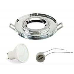 ZESTAW GOTOWY DO MONTAŻU oprawa szklana okrągła clear + żarówka LED GU10 + gniazdo