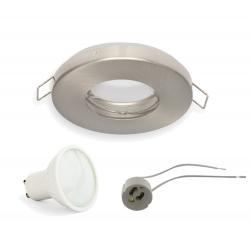 ZESTAW GOTOWY DO MONTAŻU oprawa okrągła hermetyczna satyna + żarówka LED GU10 + gniazdo