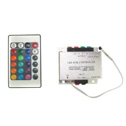 Bowi Sterownik do taśm LED RGB 216W/432W 18A na podczerwień z pilotem 24 klawisze ALU