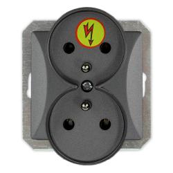 TIMEX OPAL Gniazdo podwójne ANTYPRZEPIĘCIOWE Z/U do ramki grafitowe GPt-6/Z/m Op GR