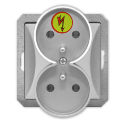 TIMEX OPAL Gniazdo podwójne ANTYPRZEPIĘCIOWE Z/U do ramki srebrne GPt-6/Z/m Op SR