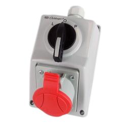 ELEKTROMET Zestaw instalacyjny gniazdo siłowe 5P 16A z przełącznikiem L-O-P IP54 C32-48N