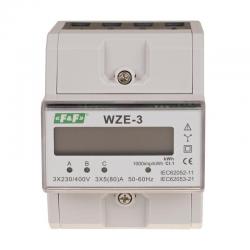 F&F Licznik energii elektrycznej na szynę cyfrowy 3F 3x5(80)A WZE-3