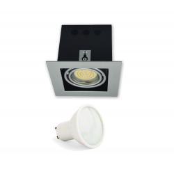 ZESTAW GOTOWY DO MONTAŻU oprawa kaseton kwadratowa ruchoma + żarówka LED GU10