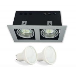 ZESTAW GOTOWY DO MONTAŻU oprawa kaseton kwadratowa ruchoma PODWÓJNA + 2x żarówka LED GU10