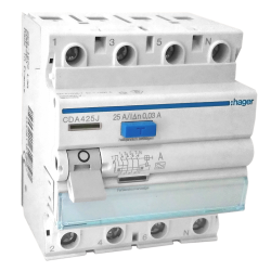 HAGER Wyłącznik różnicowoprądowy 4P 25A 0,03A typ A CDA425J