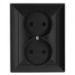 TIMEX OPAL Gniazdo podwójne bez uziemienia czarny mat GPt-5 Op CZ/MAT