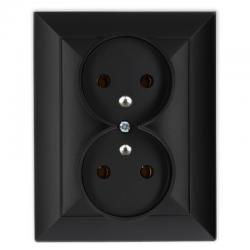 TIMEX OPAL Gniazdo podwójne z uziemieniem czarny mat GPt-6 Op CZ/MAT