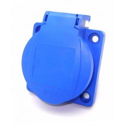 PLUS Gniazdo z uziemieniem 38x38mm 230V tablicowe IP44 niebieskie
