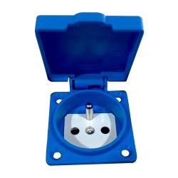 PLUS Gniazdo z uziemieniem 38x38mm 230V tablicowe IP54 niebieskie