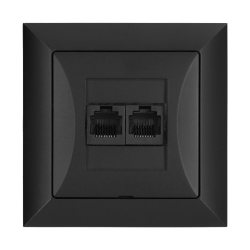 TIMEX OPAL Gniazdo komputerowe podwójne 2xRJ45 2x8pin zacisk krone LSA+ czarny mat