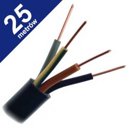 Przewód energetyczny drut YKY 4x1,5mm² 0,6/1kV czarny 25mb