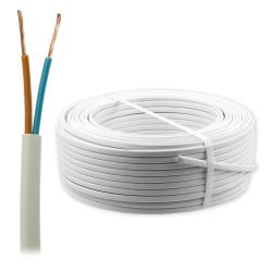 Przewód płaski kabel mieszkaniowy linka H03VVH2-F OMYp 2x0,50mm² 300V biały 100mb