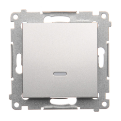 SIMON 54 Wyłącznik łącznik pojedynczy z podświetleniem do ramki srebrny mat DW1L.01/43