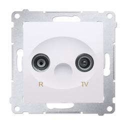 SIMON 54 Gniazdo antenowe RTV przelotowe 10dB do ramki białe DAP10.01/11