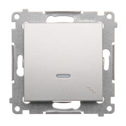 SIMON 54 Wyłącznik łącznik pojedynczy schodowy z podświetleniem do ramki srebrny mat DW6L.01/43