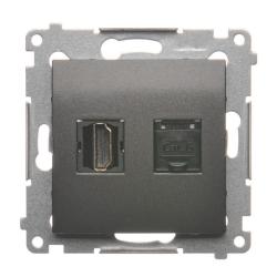 SIMON 54 Gniazdo HDMI + komputerowe RJ45 do ramki antracyt DGHRJ45.01/48