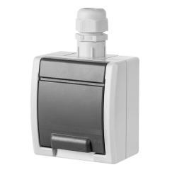 Elektro-Plast AQUANT Gniazdo pojedyncze z klapką Z/U natynkowe IP65 szare 1241-65