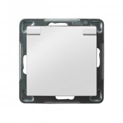 OSPEL IMPRESJA Gniazdo bryzgoszczelne z/u IP-44 wieczko białe GPH-1YZ/m/00/w