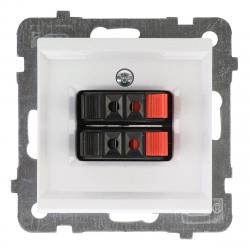 OSPEL SONATA Gniazdo głośnikowe podwójne do ramki białe GG-2R/m/00