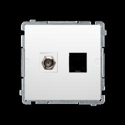 SIMON BASIC Gniazdo antenowe typu F + komputerowe RJ45 kat.6 biały BMAFRJ45.01/11