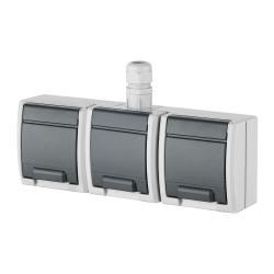 Elektro-Plast AQUANT Gniazdo potrójne z klapką Z/U natynkowe IP65 szare 1243-65