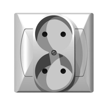 OSPEL AKCENT Gniazdo podwójne b/u białe GP-2A/00