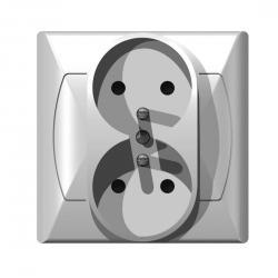 OSPEL AKCENT Gniazdo podwójne z uziemieniem białe GP-2AZ/00