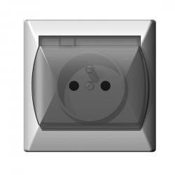 OSPEL AKCENT Gniazdo hermetyczne IP44 bryzgoszczelne z uziemieniem białe, szybka dymna GPH-1AZ/00/d