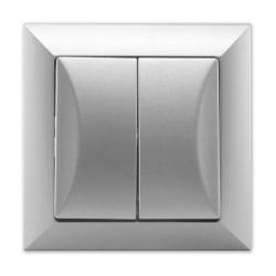 Wyłącznik łącznik schodowy podwójny w kolorze srebrnym