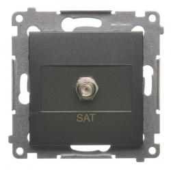 SIMON 54 Gniazdo antenowe typ F do ramki antracyt DASF1.01/48