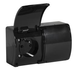 KOALA Gniazdo podwójne natynkowe wodoodporne IP44 czarne 162-05