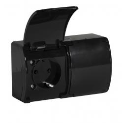 KOALA Gniazdo podwójne SCHUKO natynkowe wodoodporne IP44 czarne 182-05