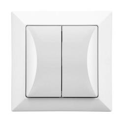 Wyłącznik łącznik schodowy podwójny w kolorze białym