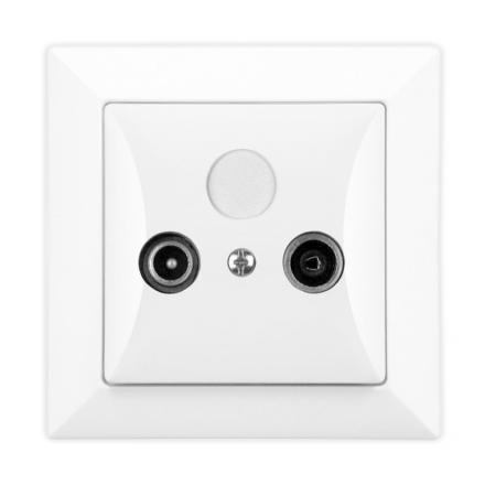 TIMEX OPAL Gniazdo abonenckie RTV końcowe w kolorze białym