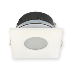 Oprawa halogenowa LED kwadratowa stała hermetyczna IP44 w kolorze białym matowym