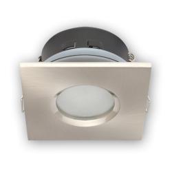 Oprawa halogenowa LED kwadratowa stała hermetyczna IP44 w kolorze satyny