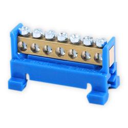PLUS Listwa zaciskowa niska na szynę 7-torowa niebieska TH35