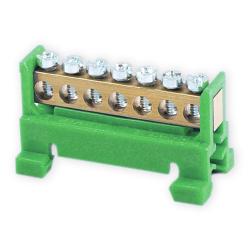 PLUS Listwa zaciskowa niska na szynę 7-torowa zielona TH35