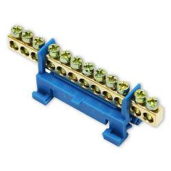 Mostek zerowy listwa zaciskowa złączka 12P na szynę kolor niebieski