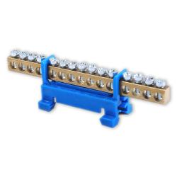 Mostek zerowy listwa zaciskowa złączka 15P na szynę kolor niebieski