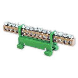 PLUS Listwa zaciskowa niska na szynę 15-torowa zielona TH35