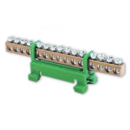 Mostek zerowy listwa zaciskowa złączka 15P na szynę kolor zielony