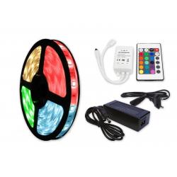ZESTAW Taśma RGB 150 LED WODOODPORNA IP63 5m 36W + Sterownik IR + Zasilacz desktop 48W
